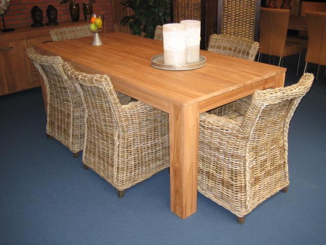 Teak tafels lloyd loom stoelen en rotan rieten meubelen for Rotan eettafel stoel